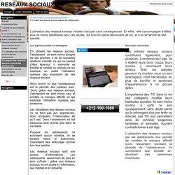 2/ L'impact des réseaux sociaux auprès des adolescents - RESEAUX SOCIAUX