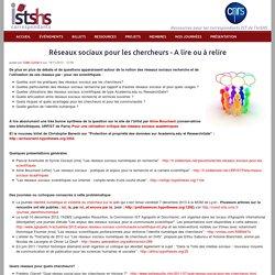 Réseaux sociaux pour les chercheurs - A lire ou à relire | CORIST-SHS