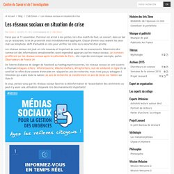 Les réseaux sociaux en situation de crise
