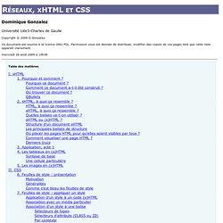 Réseaux, xHTML et CSS