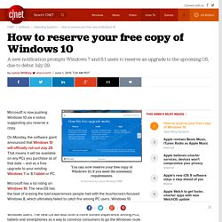 How to reserve your free copy of Windows 10