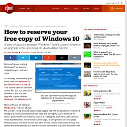 How to reserve your free copy of Windows 10 - CNET