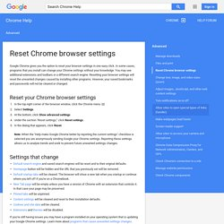Reset Chrome browser settings - Chrome Help