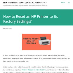 How to Reset an HP Printer to Its Factory Settings?