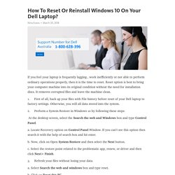 How To Reset Or Reinstall Windows 10 On Your Dell Laptop?