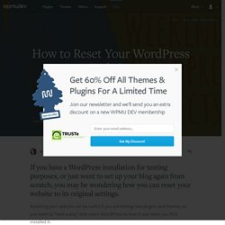 How to Reset Your WordPress Website