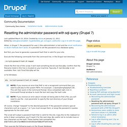 Forgotten your Drupal 7 account password