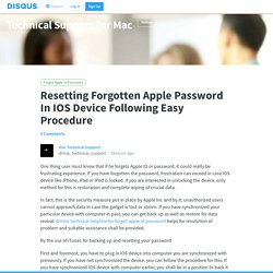 Resetting Forgotten Apple Password In IOS Device Following Easy Procedure · Technical Support For Mac