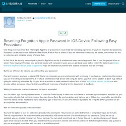 Resetting Forgotten Apple Password In IOS Device Following Easy Procedure: kentavrahamtech