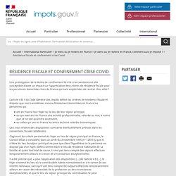 Résidence fiscale et confinement crise Covid