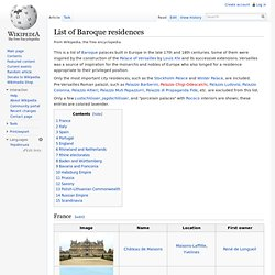 List of Baroque residences