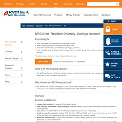 NRO Savings Account - Non Resident Ordinary Savings Account – ICICI Bank NRI Services
