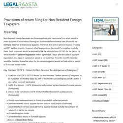 Return filing for non-resident foreign taxpayers