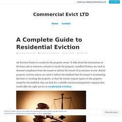 A Complete Guide to Residential Eviction – Commercial Evict LTD