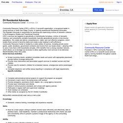 DV Residential Advocate job - Community Resource Center - Encinitas, CA