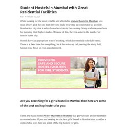 Student Hostels in Mumbai with Great Residential Facilities
