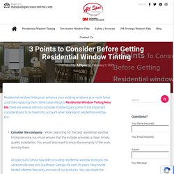 3 Points to Consider Before Getting Residential Window Tinting