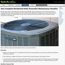 Complete Residential HVAC Preventive Maintenance Checklist
