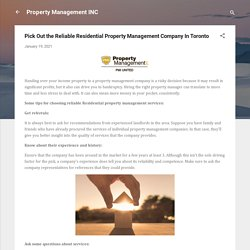 Pick Out the Reliable Residential Property Management Company In Toronto