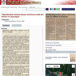 """""""Residential school abuse survivors seek $1 billion in damages"""": Six Nations Public Library-Digital Archive"""
