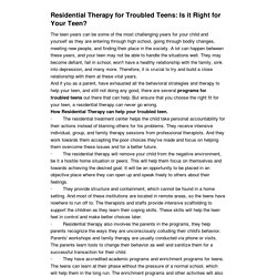 Residential Therapy for Troubled Teens