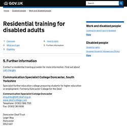 Residential training for disabled adults