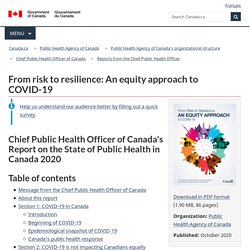 From risk to resilience: An equity approach to COVID-19 – The Chief Public Health Officer of Canada's Report on the State of Public Health in Canada 2020