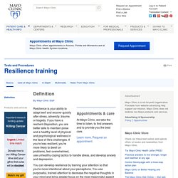 Resilience training Definition - Tests and Procedures