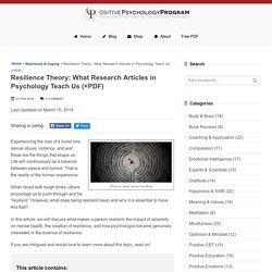 Resilience Theory: What Research Articles in Psychology Teach Us (+PDF)