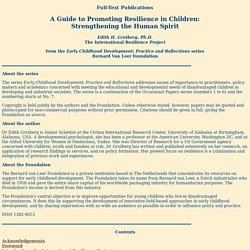 A Guide to Promoting Resilience in Children: Strengthening the Human Spirit