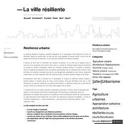 Résilience urbaine