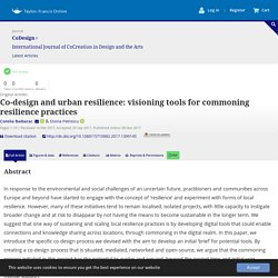 Co-design and urban resilience: visioning tools for commoning resilience practices: CoDesign: Vol 0, No 0