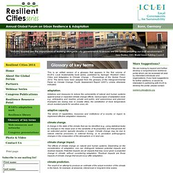 Resilient Cities - ICLEI: Glossary of key terms