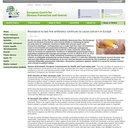 ECDC 17/11/14 Resistance to last-line antibiotics continues to cause concern in Europe