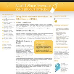 Drug Abuse Resistance Education: The Effectiveness of DARE