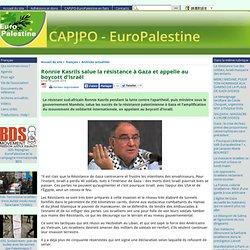 Ronnie Kasrils salue la résistance à Gaza et appelle au boycott d'Israël