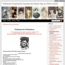 Poétesses de la Résistance - Poétesses d'expression française, du Moyen-Age au 20ème siècle