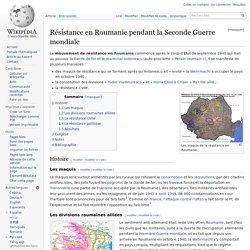 Résistance en Roumanie pendant la Seconde Guerre mondiale