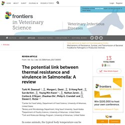 FRONTIERS IN VETERINARY SCIENCE 01/06/17 The potential link between thermal resistance and virulence in Salmonella: A review