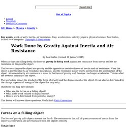 Work Done by Gravity Against Inertia and Air Resistance by Ron Kurtus - Succeed in Understanding Physics: School for Champions