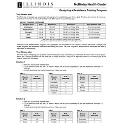 Designing a Resistance Training Program - McKinley Health Center - University of Illinois