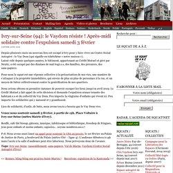 Ivry-sur-Seine (94): le Vaydom résiste ! Après-midi solidaire contre l'expulsion samedi 3 février