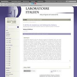 Il diritto di resistenza nel Settecento italiano