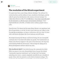 The resolution of the Bitcoin experiment