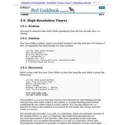 High-Resolution Timers (Perl Cookbook, 2nd Edition)