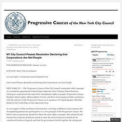 NY City Council Passes Resolution Declaring that Corporations Are Not People