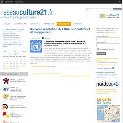 Nouvelle résolution de l'ONU sur culture et développement