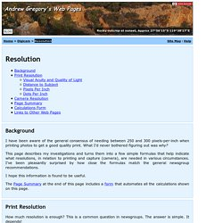 Resolution - Digicam - Andrew Gregory's Web Pages
