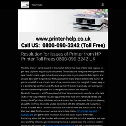 Resolution for Issues of Printer from HP Printer Toll Free 0800-090-3242 UK