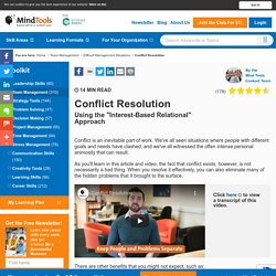 Conflict Resolution - Team Management Training From MindTools.com